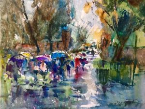 Venice Umbrellas Notecard, blank giclee watercolor print by Eric Wiegardt AWS-DF, NWS