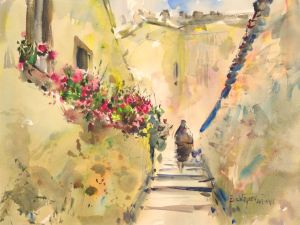 3357 Obidos, original watercolor painting by Eric Wiegard AWS-DF, NWS