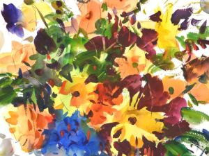 325 Dahlias, original watercolor painting by Eric Wiegardt AWS-DF, NWS