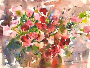 4326 Carnations, original watercolor painting by Eric Wiegardt AWS-DF, NWS