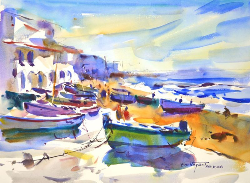 4329 Calella, Spain, Fishing Boats, original watercolor painting by Eric Wiegardt AWS-DF, NWS