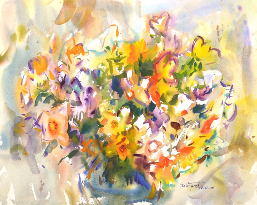 4352 Spring Bouquet, original watercolor painting by Eric Wiegardt AWS-DF, NWS