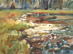 3309 Pond Study, original watercolor painting by Eric Wiegardt AWS-DF, NWS
