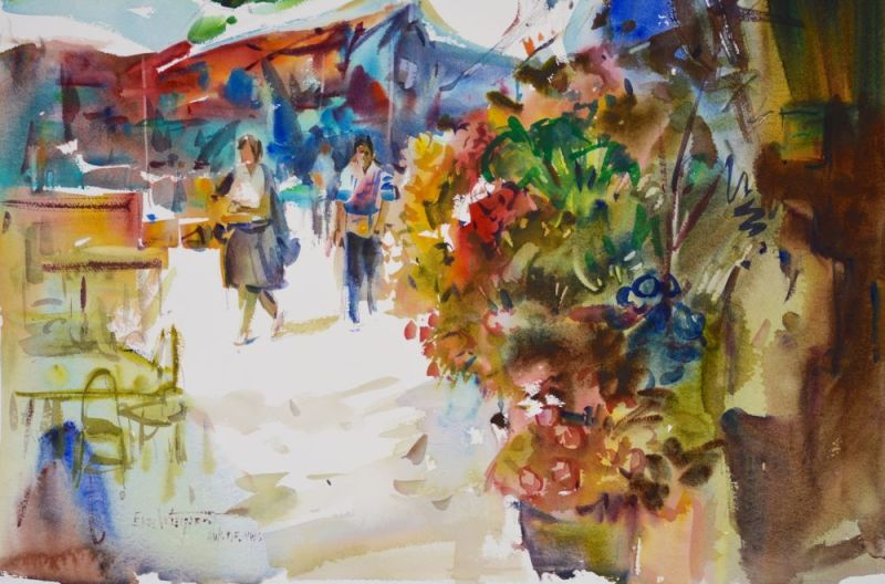 3508 Market Day, original watercolor painting by Eric Wiegardt AWS-DF, NWS