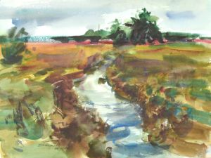3873 Columbia Slough, original watercolor painting by Eric Wiegardt, AWS-DF, NWS