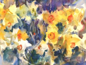 4264 Daffodils, original watercolor painting by Eric Wiegardt AWS-DF, NWS