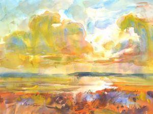 4366 Amber Morning, original watercolor painting by Eric Wiegardt AWS-DF, NWS