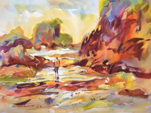 4367 Esther and Tidal Pools, original watercolor painting by Eric Wiegardt AWS-DF, NWS