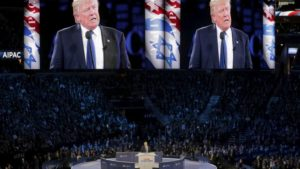 Donald Trump gives a thumbs-up as he addresses the American Israel Public Affairs Committee (AIPAC) 2016 Policy Conference at the Verizon Center in Washington, DC, March 21, 2016.