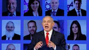 Israeli Prime Minister Benjamin Netanyahu delivers a speech at the launch of Likud party election campaign