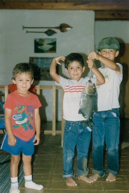 young Josh, Ryan, Stephen with fish