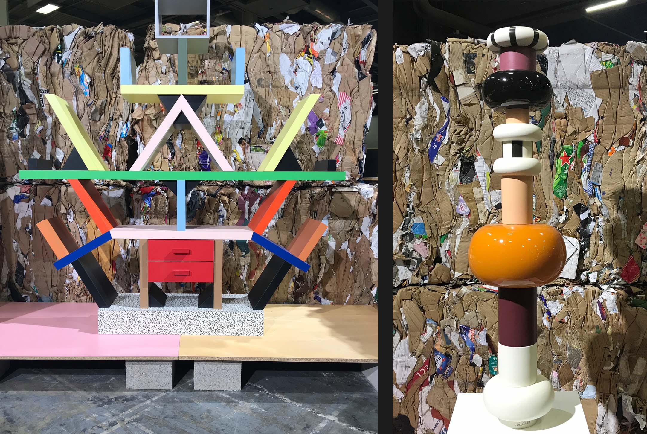 Bibliothèque Cralon & totem en céramique- Ettore Sottsass