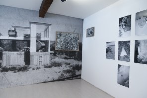 Fotografia Europea, Reggio Emilia, Italy, May 2014: Massimiliano Tomasso Rezza work comprised of silver gelatin prints, video and alternative works on glass and wood capture banal moments and events that reveal themselves during our everyday life.