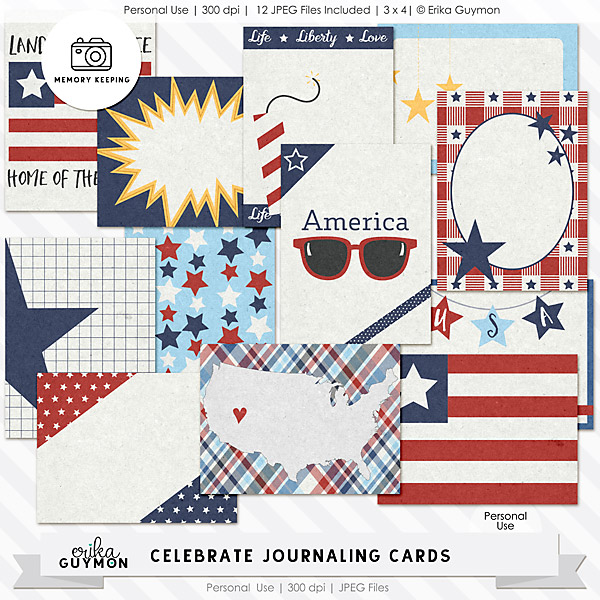 4th of July | Digital Journaling Cards | Celebrate | Erika Guymon