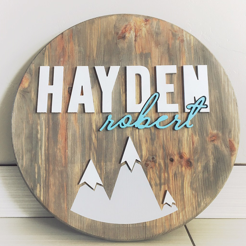 Nursery Round Wood Sign Boy | Made with love by Erika Guymon