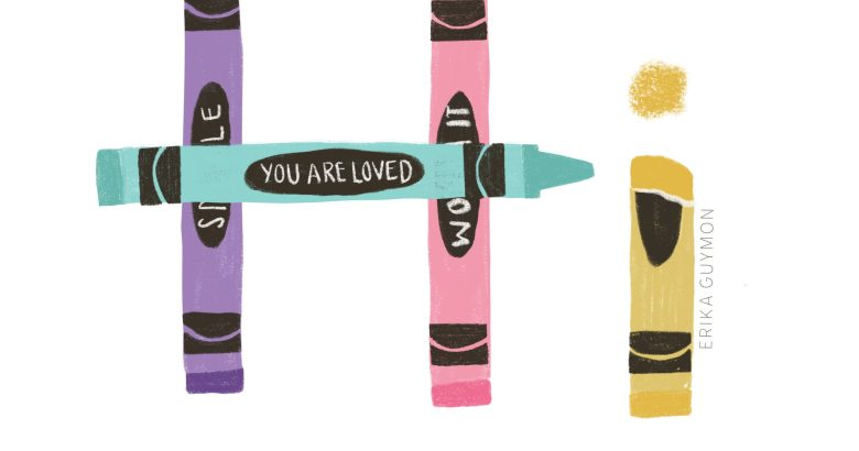 "Hand drawn crayons that spell out ""Hi"" with a reminder to smile,you are loved, you are worth it."