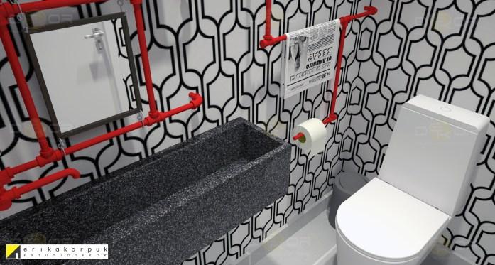 Lavabo mega descolado e econômico. Decorado com tubulação pintada, que serve para a pia, para pendurar jornal, papel e a toalha. Apartamento Geek . projeto Erika Karpuk