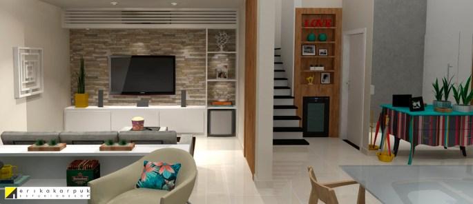 Aproveitando os móveis existentes, indicamos novos revestimentos e cores para a antiga lareira e os novos móveis a serem comprados. - Projeto Erika Karpuk