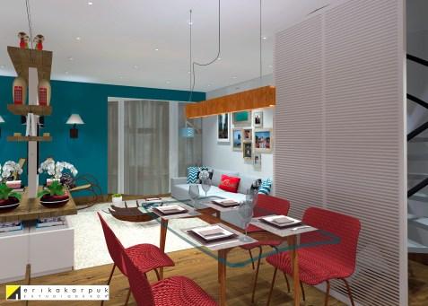 O painel na frente da escada resolveu uma questão estética e proporcionou harmonia e setorização. Duplex em SBC . projeto Erika Karpuk