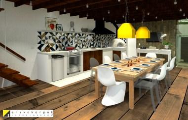 Área Gourmet com churrasqueira e forno de pizza. Projeto Erika Karpuk