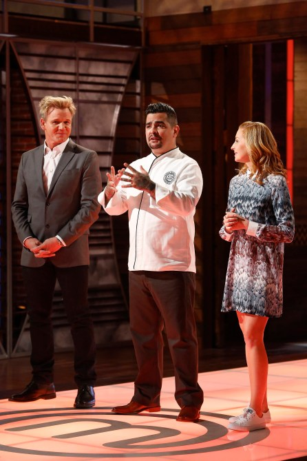 "MASTECHEF: L-R: Gordon Ramsay, Aaron Sanchez and Christina Tosi in the all-new ""Top 17 Compete"" episode of MASTERCHEF airing Wednesday, June 29 (8:00-9:00 PM ET/PT) on FOX. Cr: Greg Gayne / FOX. © 2016 FOX Broadcasting Co."
