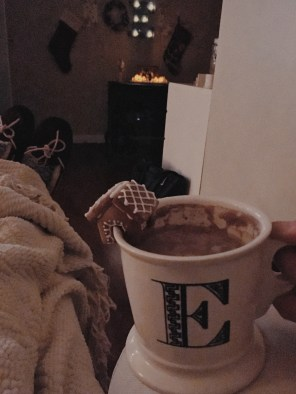 Cozy with hot cocoa