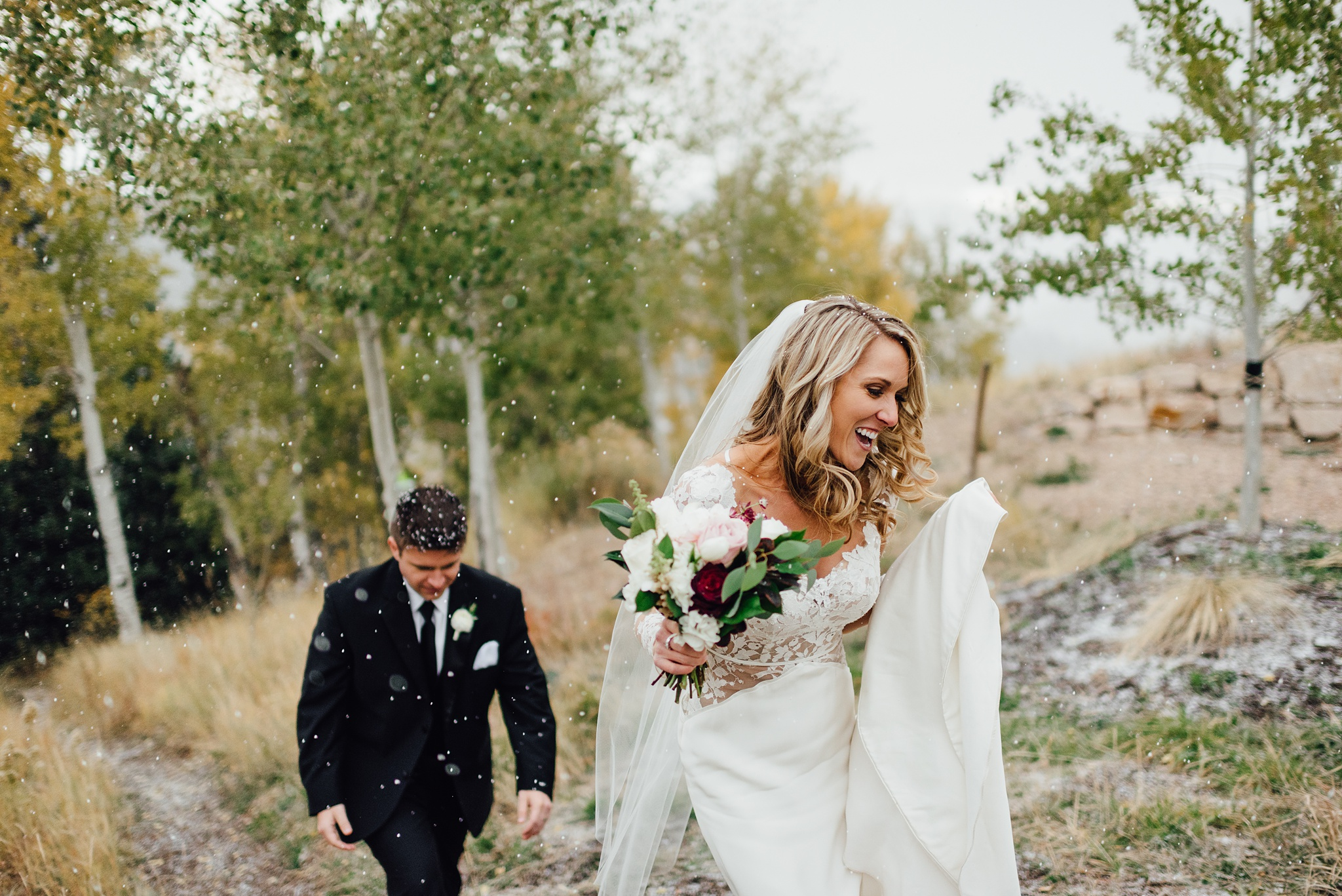 st regis deer valley fall wedding, snowy wedding