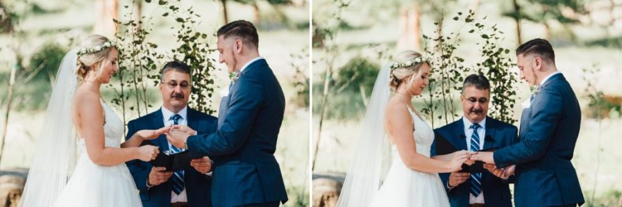 exchanging rings during wedding ceremony