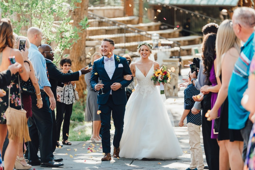 wedding flower petal toss