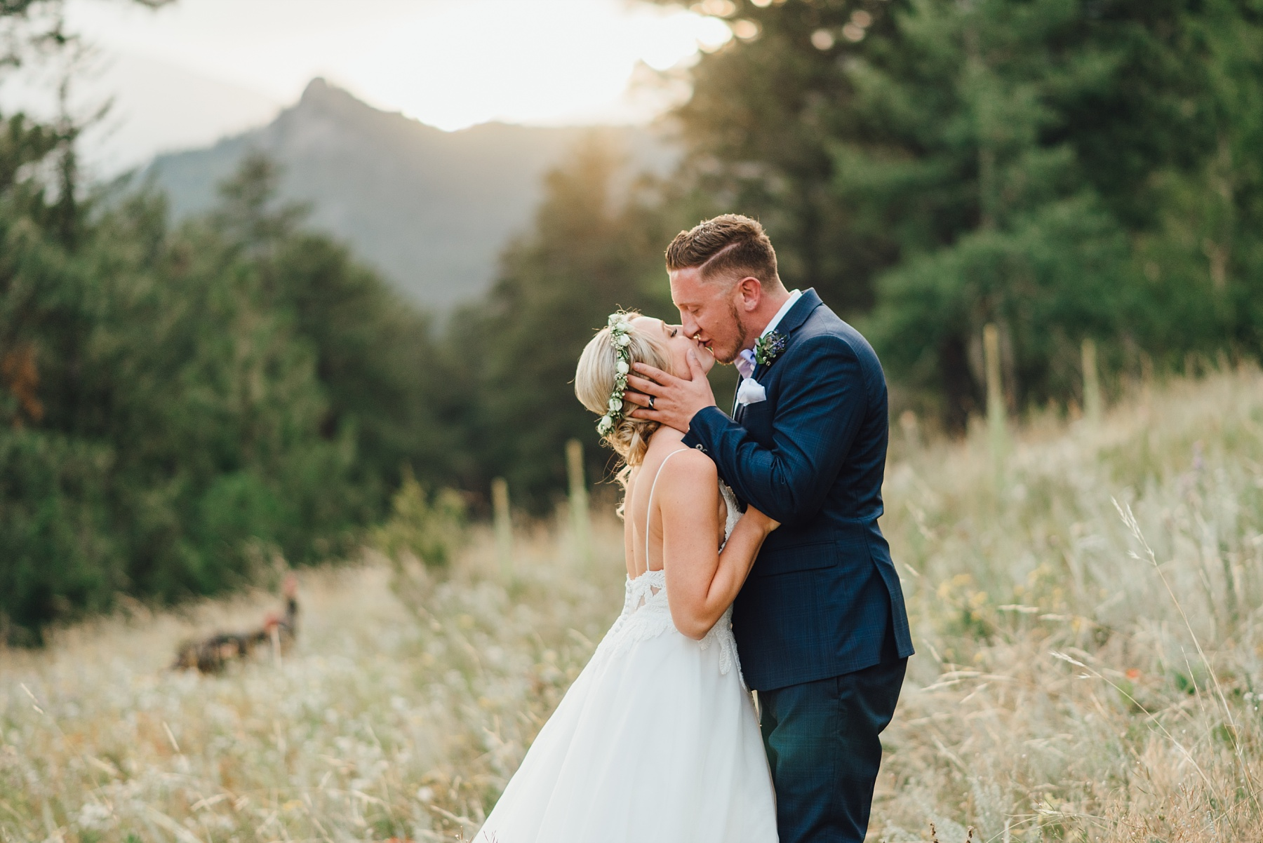 bride and groom sunset portraits