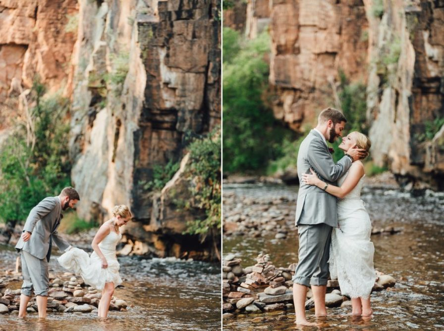 bride and groom get into water