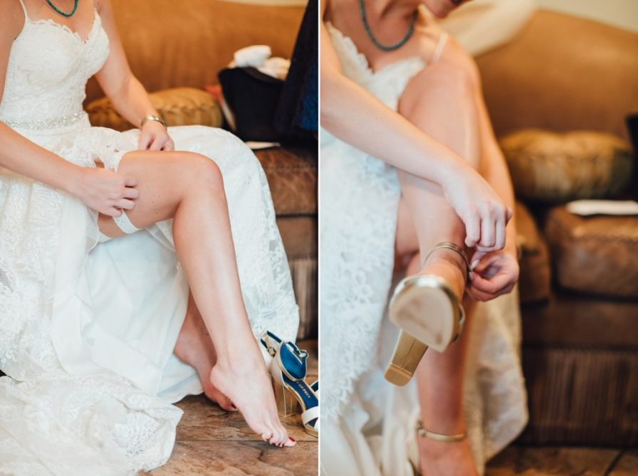 bride putting on garters and shoes