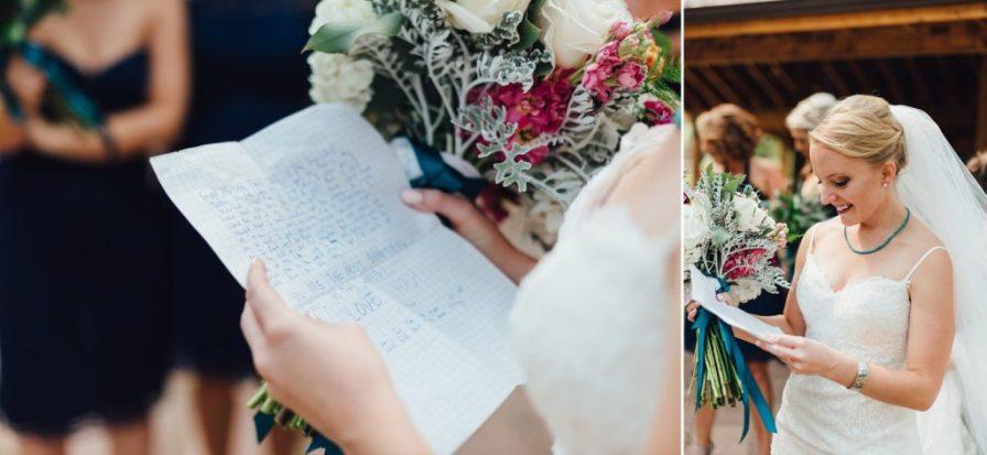 bride reading groom's note