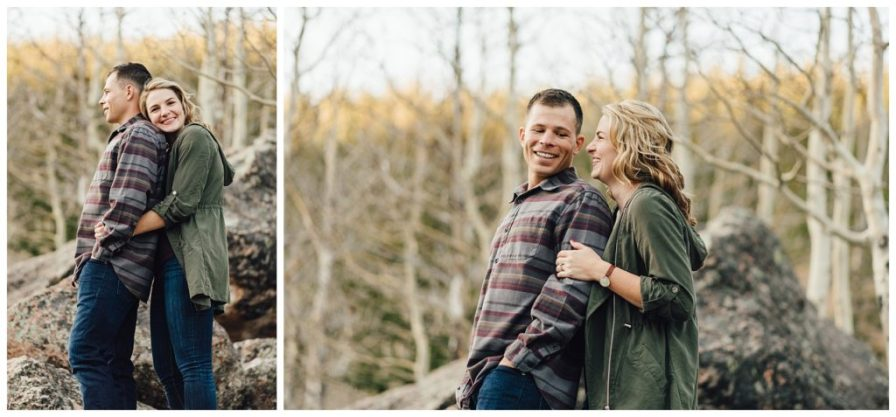 Engagement session in RMNP, couple on rocks
