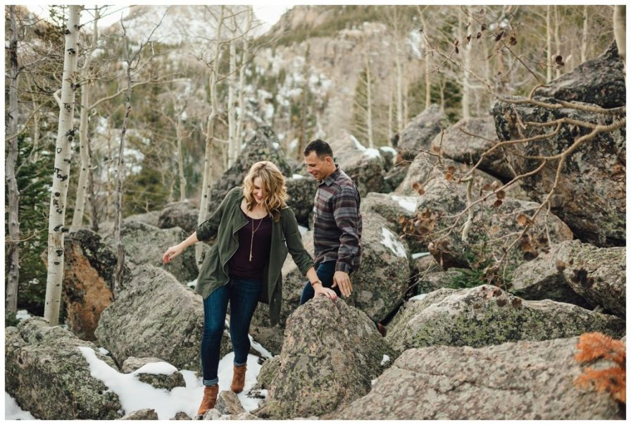 Adventure engagement session in Rocky Mountain National Park