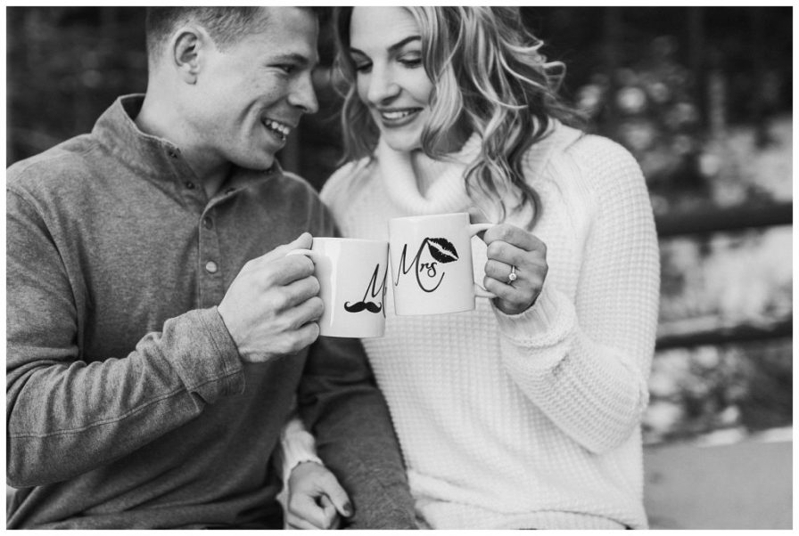 Snowy engagement session photos, mr and mrs coffee cups