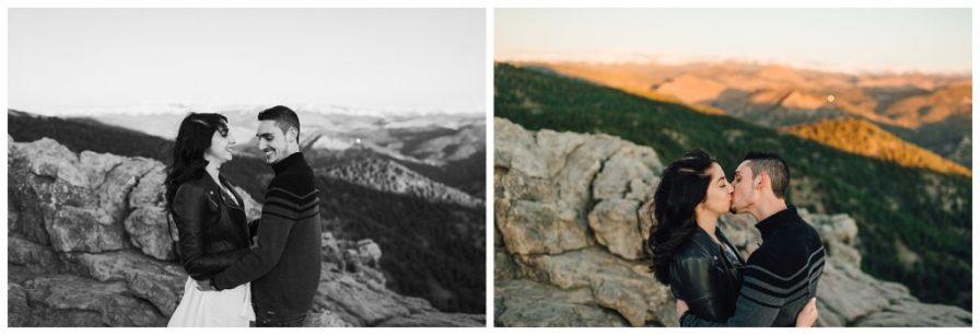 Colorado mountain engagement photos at sunrise. Photos by Erika Overholt Photography.