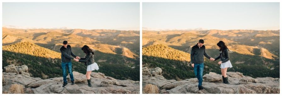 Hiking Lost Gulch in Boulder, Colorado for engagement photos. Photos by Erika Overholt Photography.
