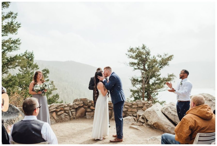 Bride and groom share in first kiss as husband and wife