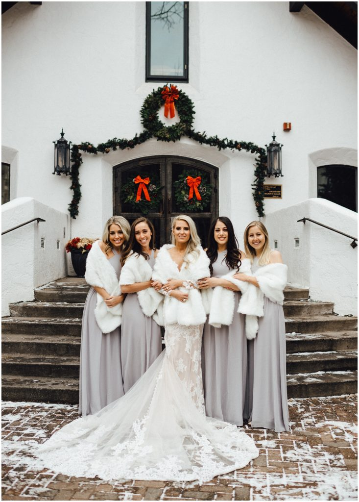 The bride and her girls in front of the Vail Interfaith Chapel in Vail Colorado