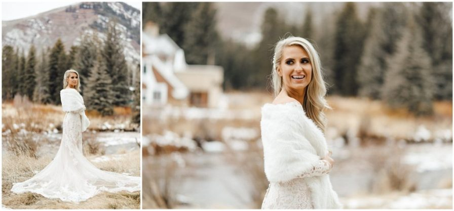 The bride in her winter fur shawl for her snowy winter elopement