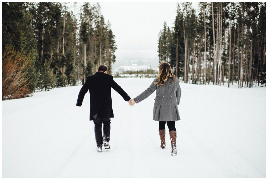 Holding hands in the mountains of Colorado