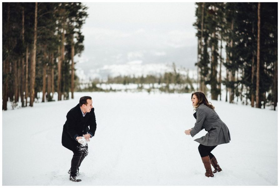 Having a snowball fight in the Colorado mountians