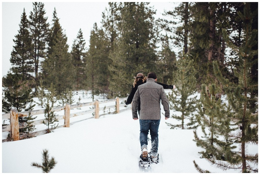 Snowshoeing engagement in the Colorado Rockies