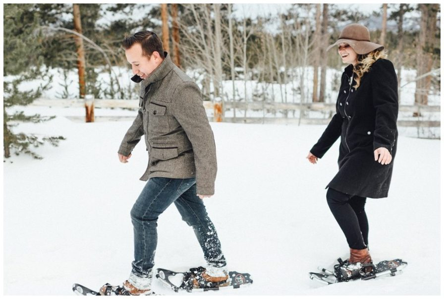 A snowshoeing engagement is a great way to spend the day with your fiance