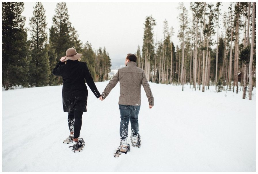 Taking her home to get a warm drink after their snowshoeing engagement on a cold snowy day