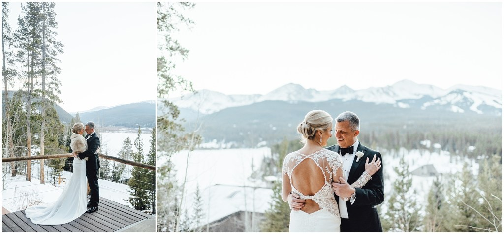 Couple amidst the snowy mountains at this Breckenridge winter wedding