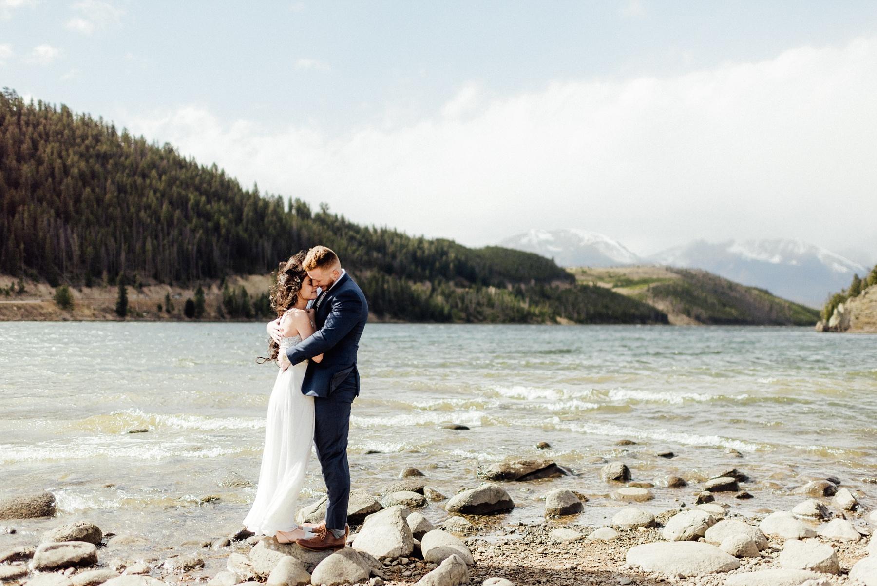 elopement at lake dillon in colorado