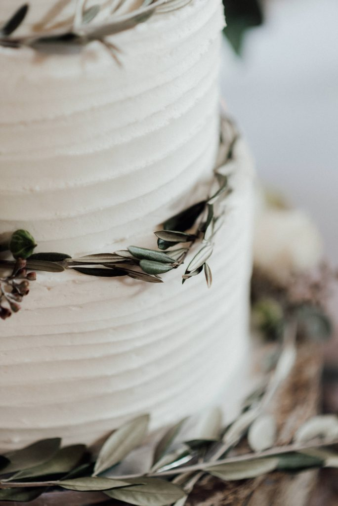 wedding cake with eucalyptus