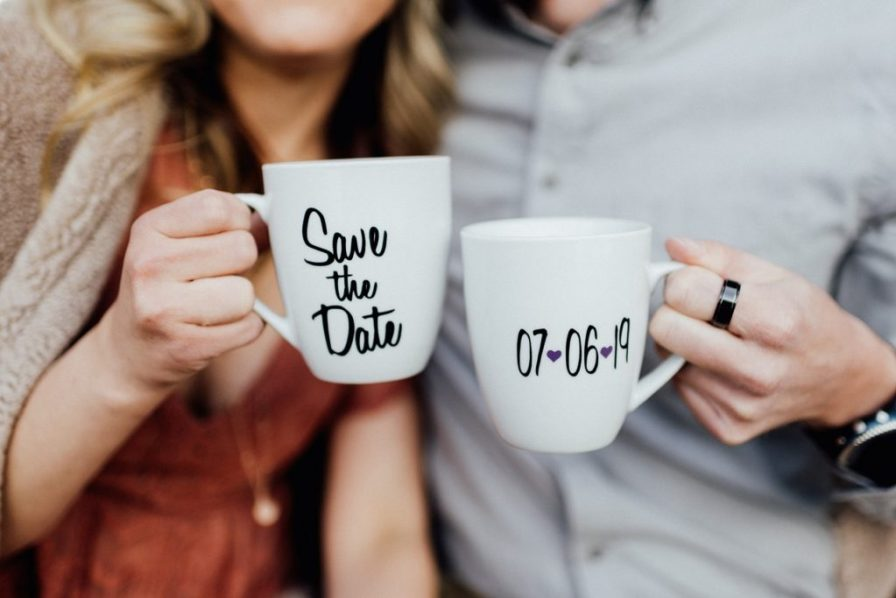save the date coffee cups